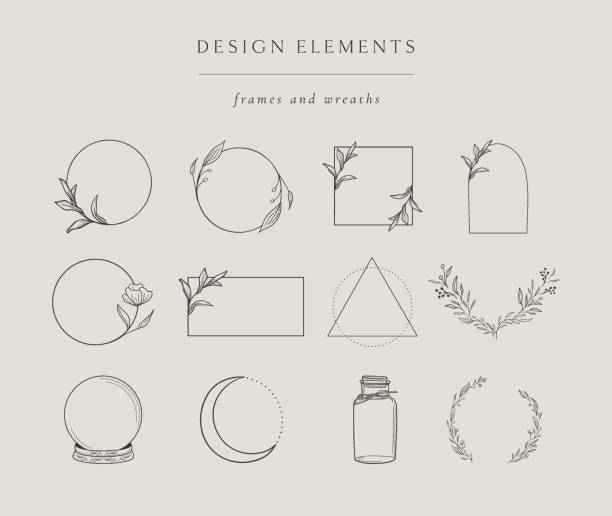 Collection of hand drawn illustrations elements, frames Collection of vector hand drawn design elements, geometric floral frames, borders, wreaths, detailed decorative illustrations. Trendy Line drawing, lineart style flowers tattoos stock illustrations
