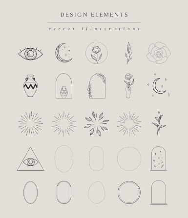 Collection of hand drawn illustrations elements, frames