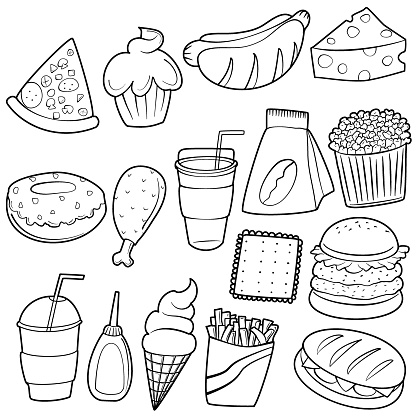 Collection of hand drawn junk food doodle