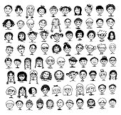 Collection of black and white hand drawn kids' faces