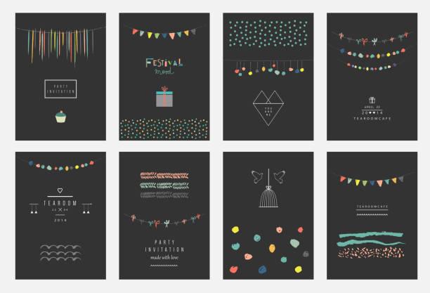 sammlung von hand gezeichnete party-karten und einladungen. - posterstile stock-grafiken, -clipart, -cartoons und -symbole
