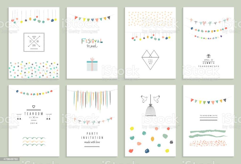 Collection de main dessinée Carte de fête et les invitations. - Illustration vectorielle