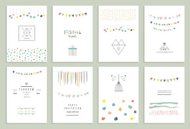 sammlung von hand gezeichnete party-karten und einladungen. - blumengirlanden stock-grafiken, -clipart, -cartoons und -symbole