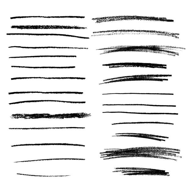 collection of hand drawn pencil lines. brush stokes. vector dividers. - ołówek stock illustrations