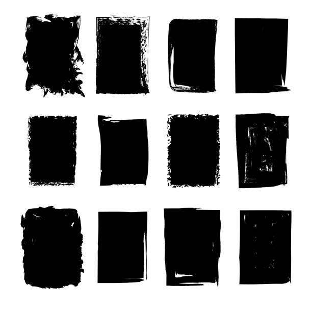 illustrazioni stock, clip art, cartoni animati e icone di tendenza di collection of hand drawn rectangle stains - sfondo scarabocchi e fatti a mano