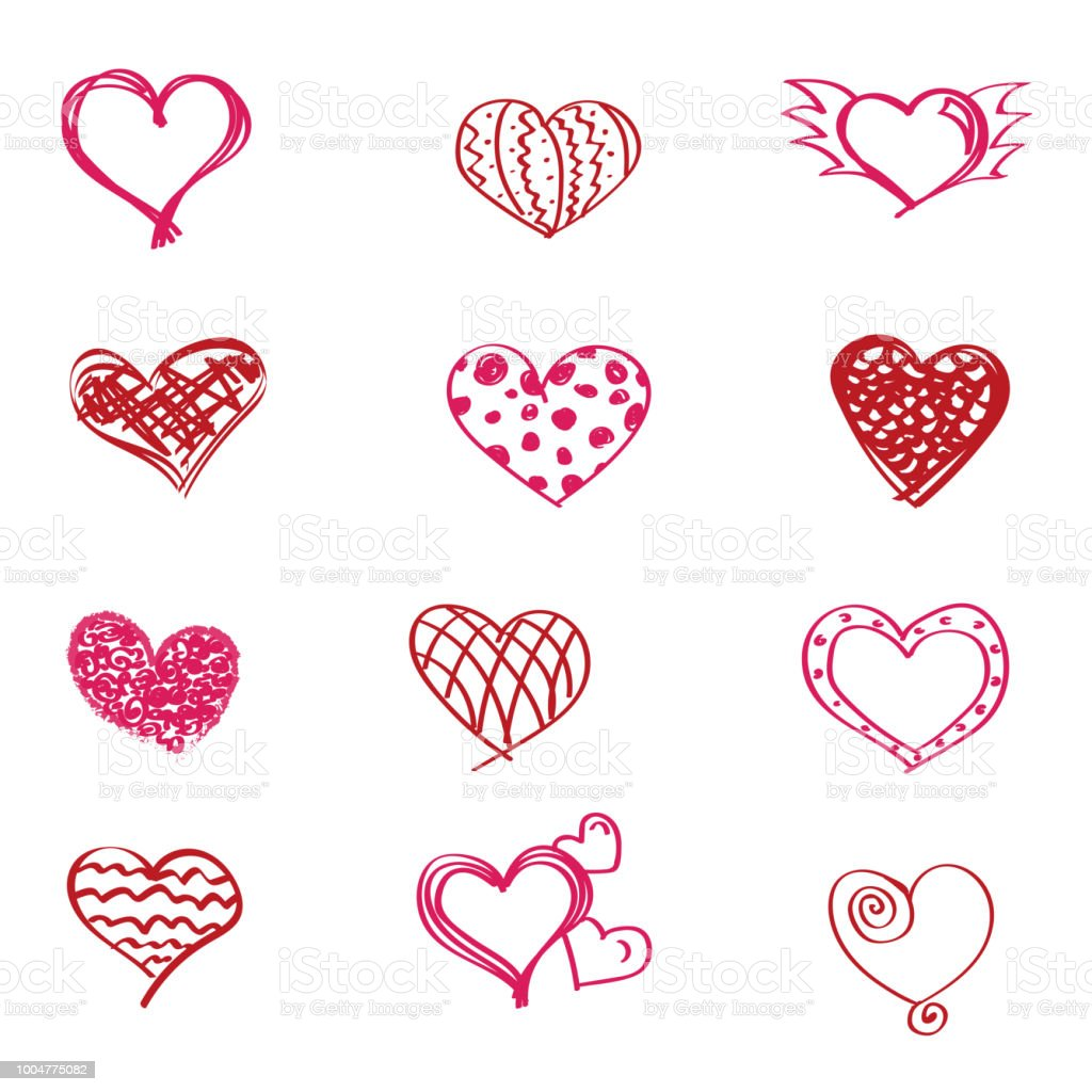 Collection Of Hand Drawn Red Hearts Design Objects For Valentines