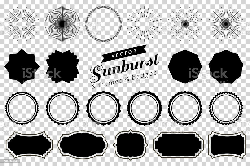 Collection of hand drawn retro sunburst, bursting rays design elements. Frames, badges vector art illustration