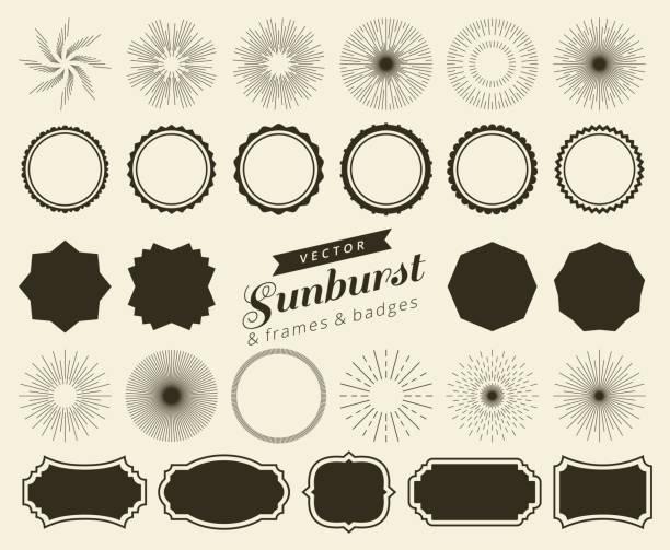 sammlung von retro-sunburst hand gezeichnet, platzende strahlen designelemente. rahmen, abzeichen - archivmaterial stock-grafiken, -clipart, -cartoons und -symbole