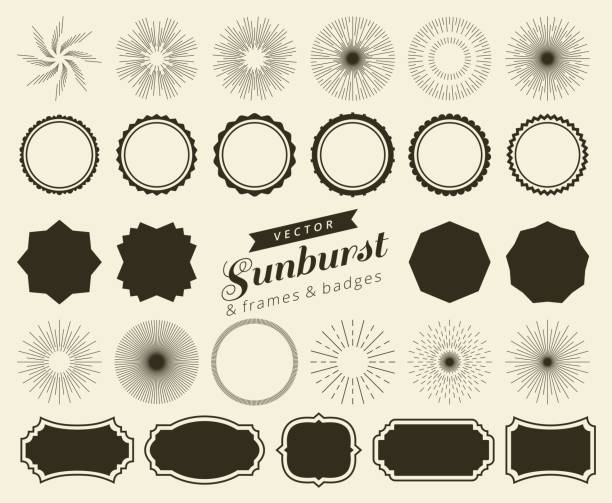 collection of hand drawn retro sunburst, bursting rays design elements. frames, badges - burst vector stock illustrations, clip art, cartoons, & icons