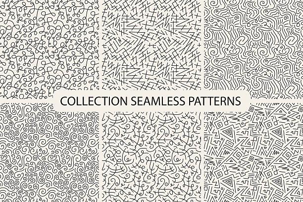 illustrazioni stock, clip art, cartoni animati e icone di tendenza di collection of hand drawn seamless patterns. - sfondo scarabocchi e fatti a mano