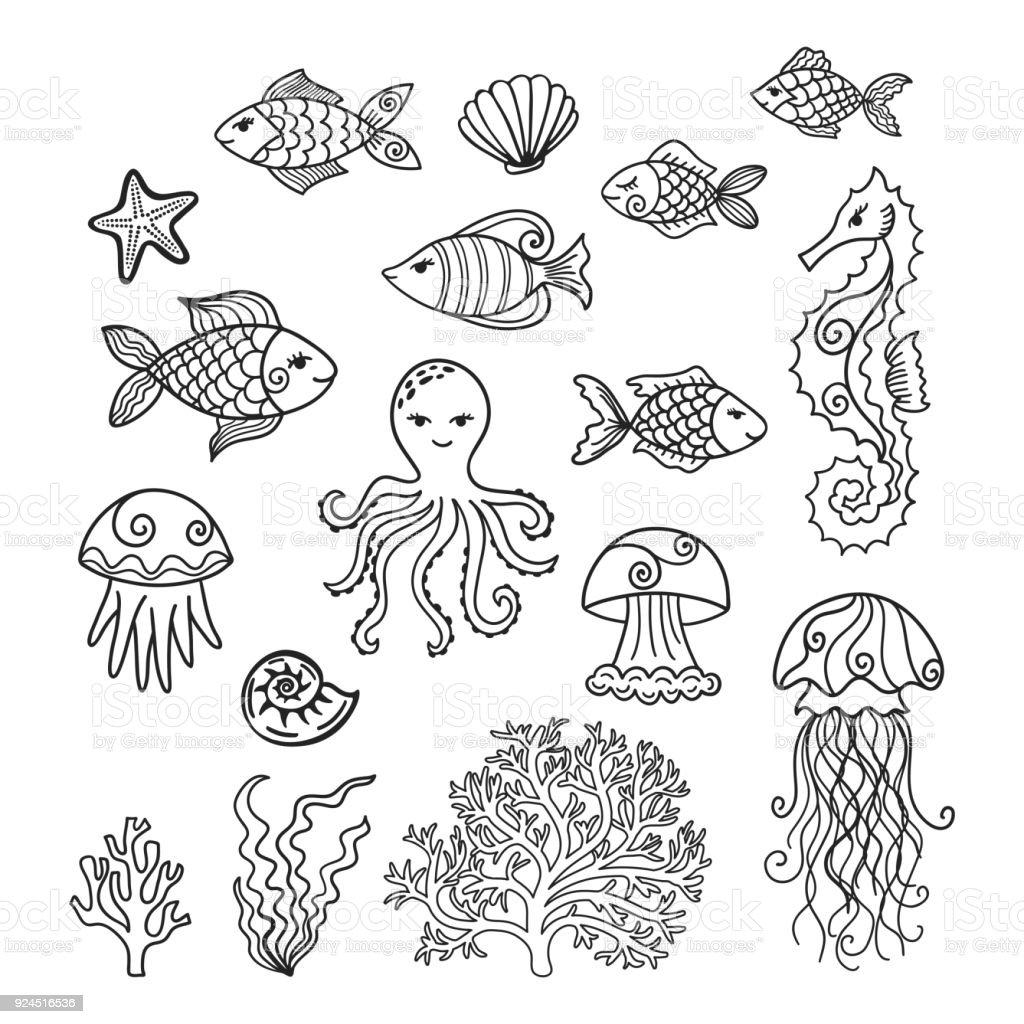 sammlung von hand gezeichnet unterwasser comictiere stock