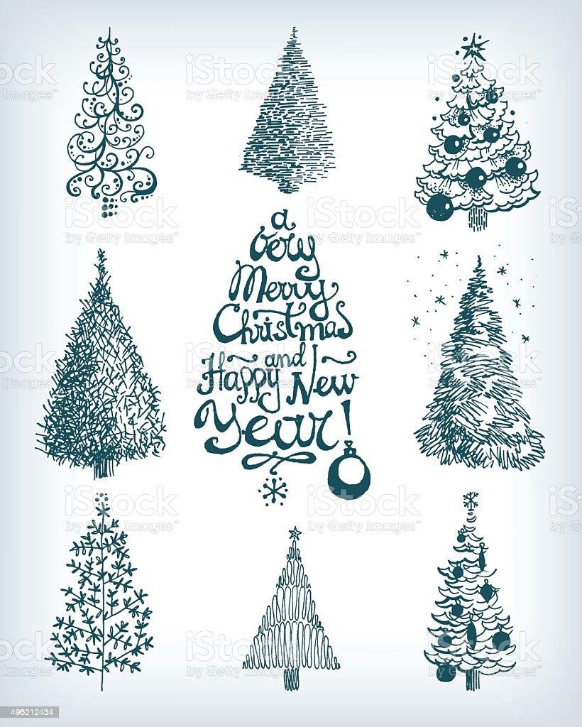 Disegni Di Natale Vettoriali.Collezione Di Disegno A Mano Vettoriale Di Alberi Di Natale