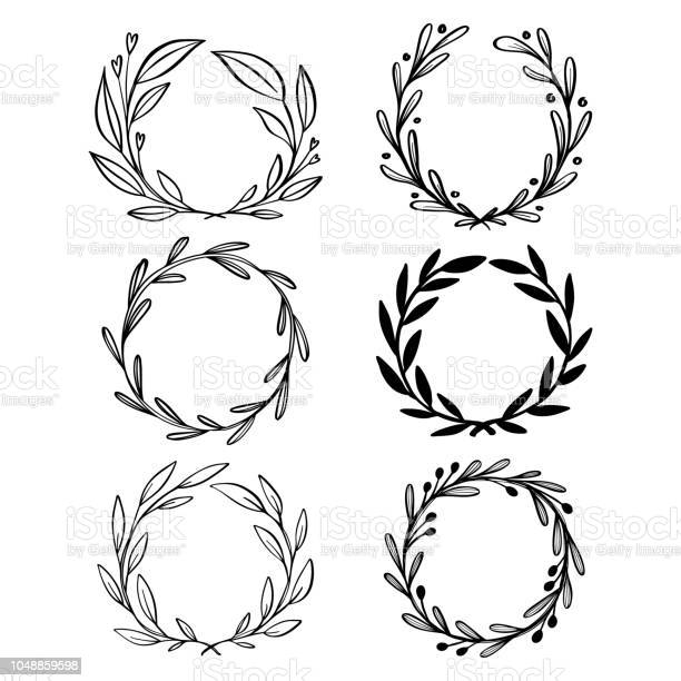 Collection of hand drawn vector floral wreath with leaves circle vector id1048859598?b=1&k=6&m=1048859598&s=612x612&h=vfetktjdl8cnzffayrpq kufqwd18glpmnf0q3g90bs=