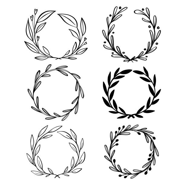 collection of hand drawn vector floral wreath with leaves. circle frame wreaths for logo design, for wedding invitations, for emblem and badge. - laurel leaf stock illustrations, clip art, cartoons, & icons