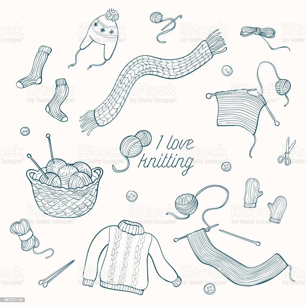 Collection of hand drawn vector illustration of knitting related objects vector art illustration