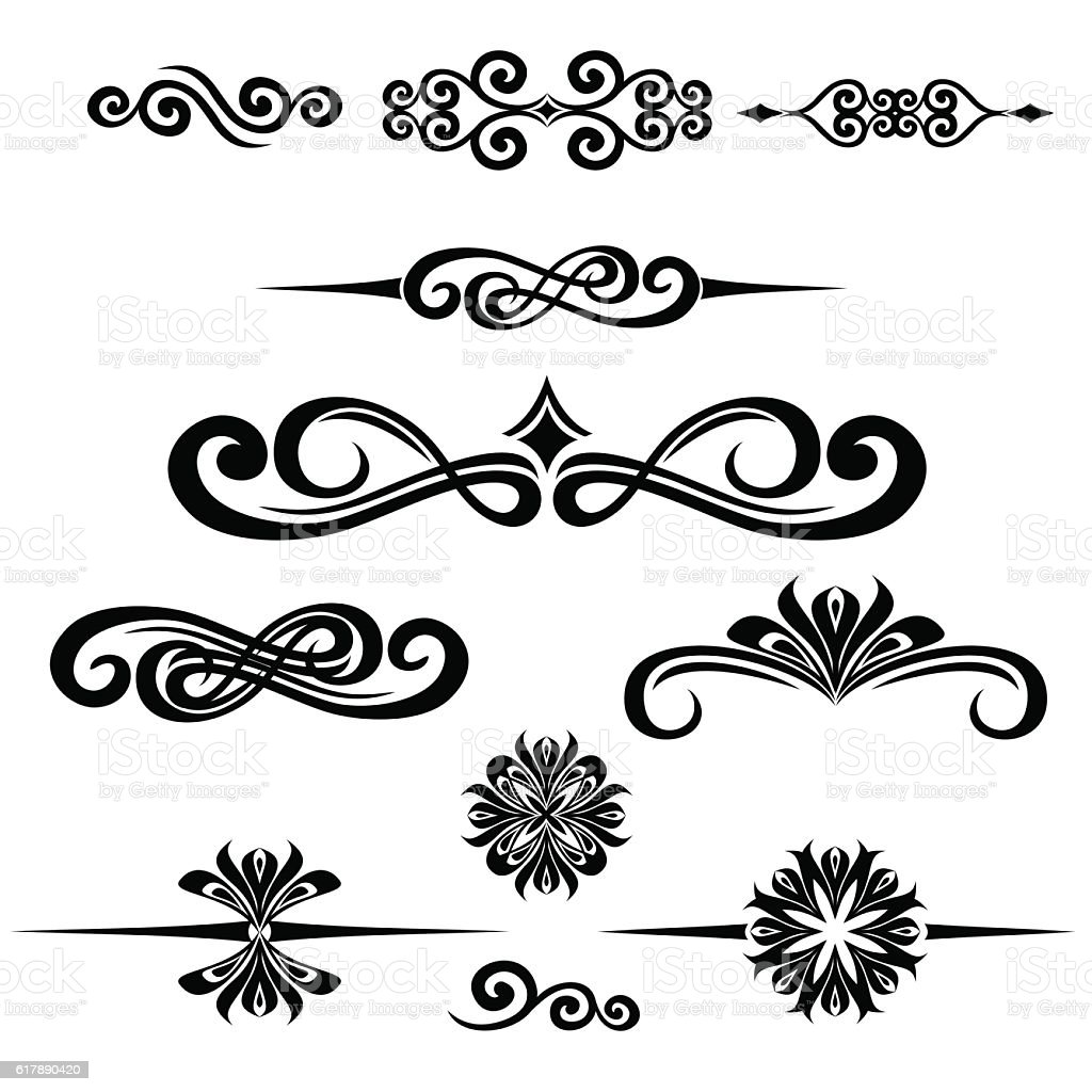 Collection of hand drawn vintage frame for text decoration for A text decoration