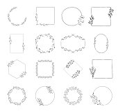 Collection of hand drawn wedding branding with botanical elements. Wreaths, borders and frames for floral design. Vector isolated.