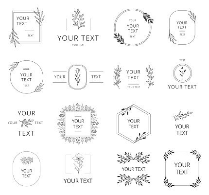 Collection of hand drawn wedding branding with floral elements. Wreaths, borders and frames for feminine design. Vector isolated.