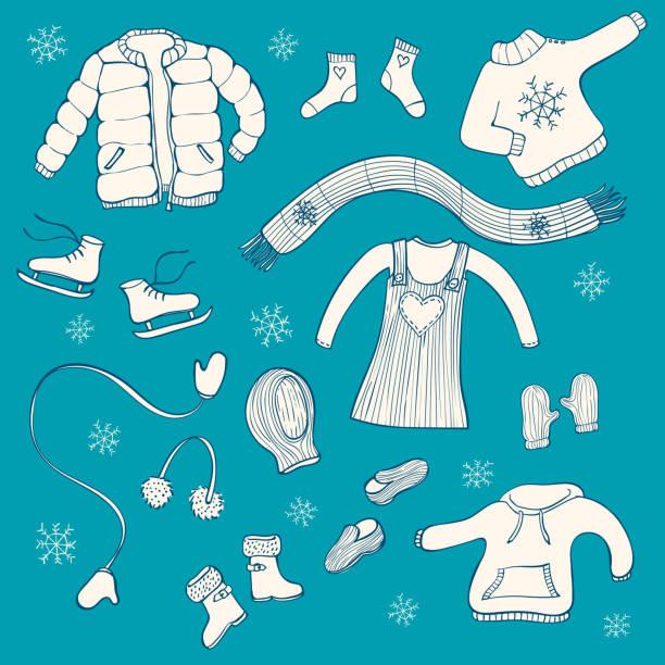 sammlung von handgezeichneten winter kleidung artikel: schal, kleid, handschuhe, hut - kinderstiefel stock-grafiken, -clipart, -cartoons und -symbole