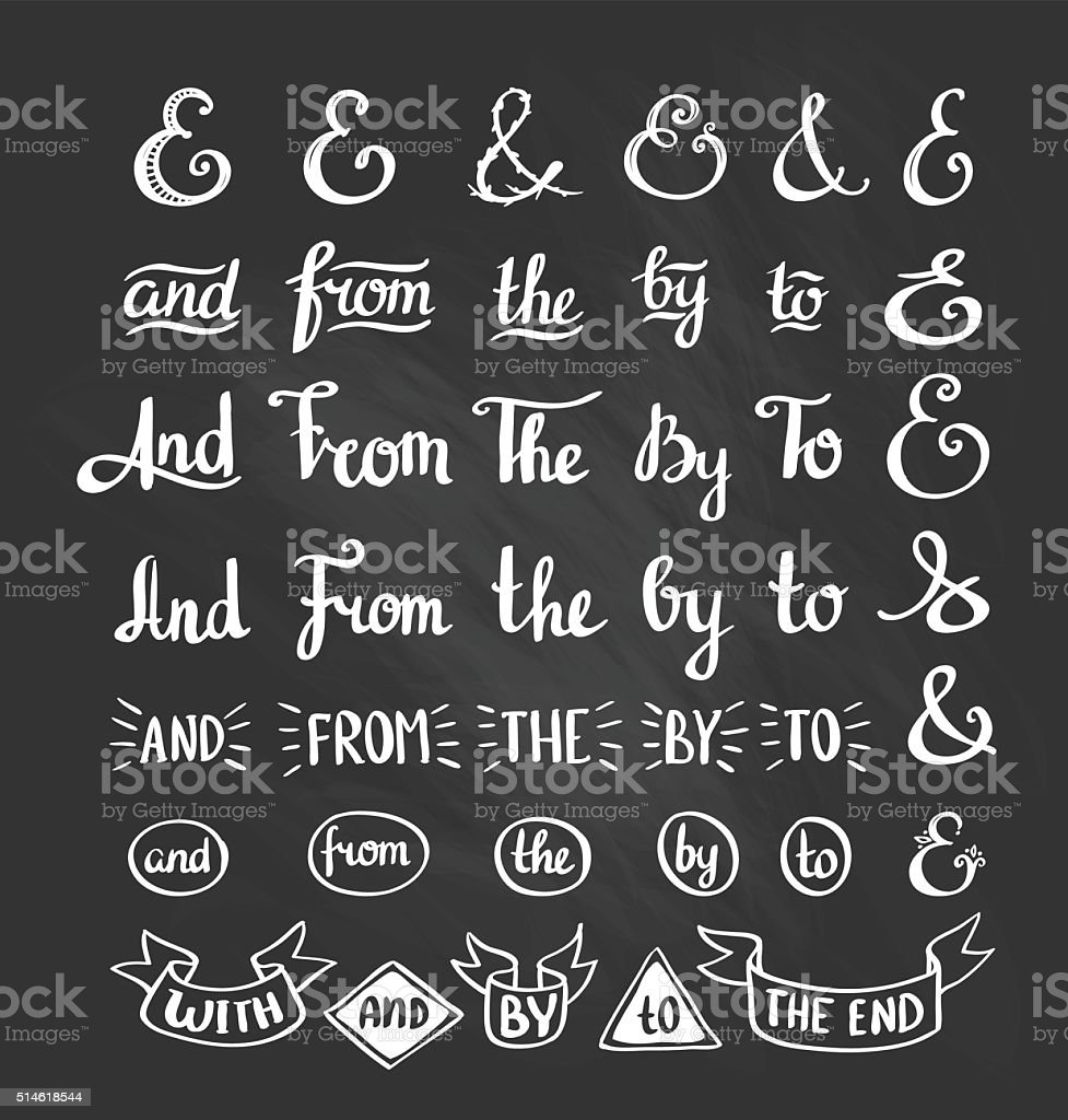 Collection of hand sketched ampersands and catchwords. vector art illustration