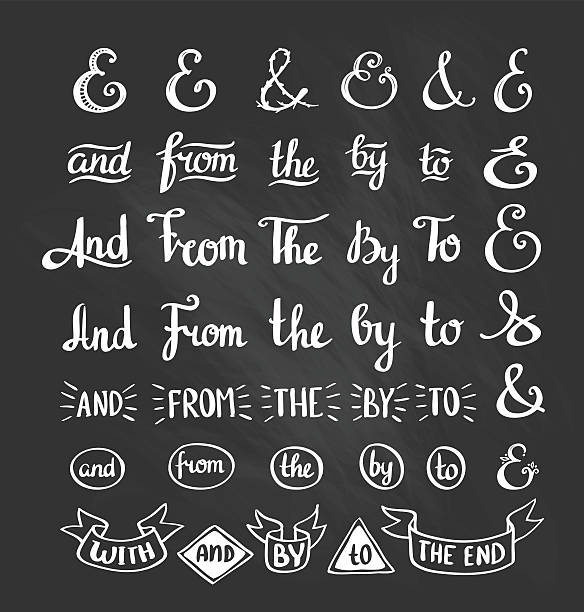 stockillustraties, clipart, cartoons en iconen met collection of hand sketched ampersands and catchwords. - borden en symbolen