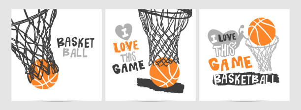 Collection of hand-drawing basketball designs on a white background, grunge style, sketch, lettering, hoop. Sports print, slogan. Basketball sketch designs on a white background, grunge style, hoop. basketball hoop stock illustrations