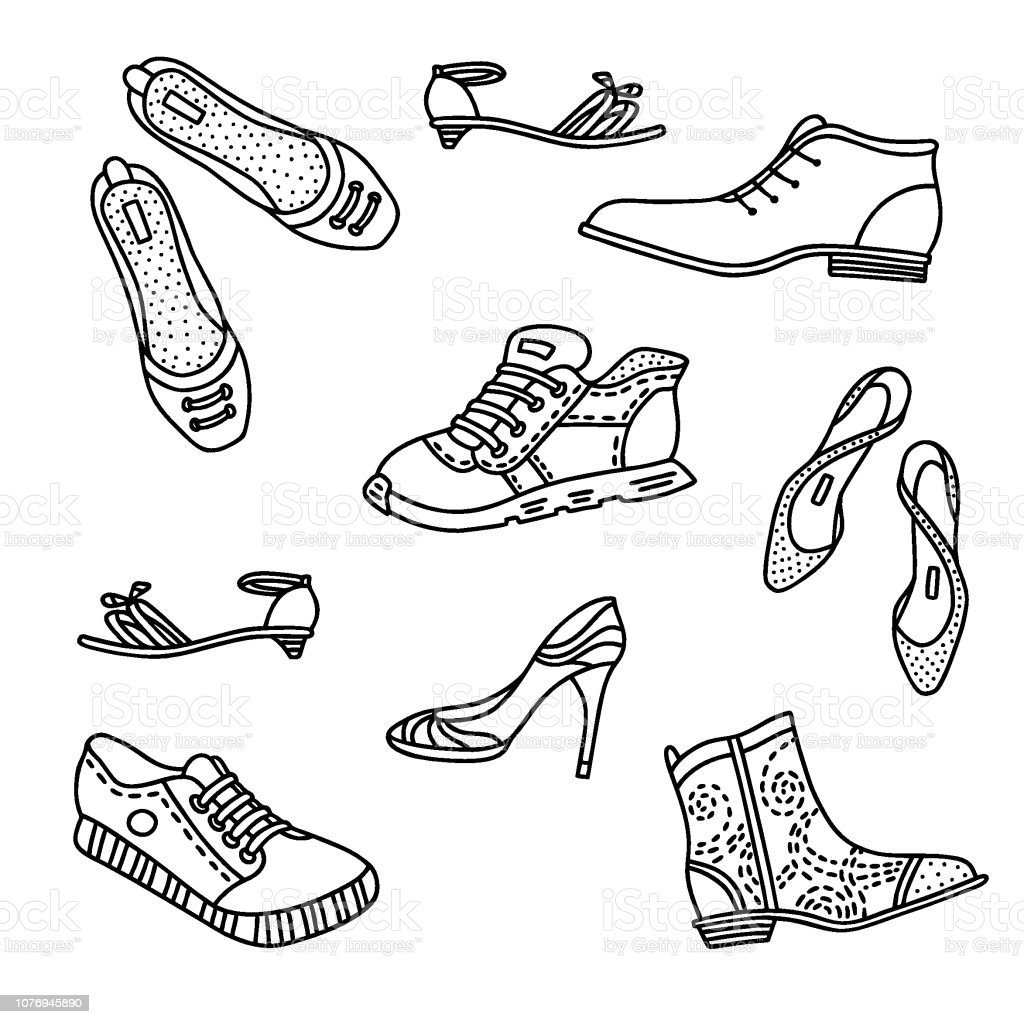 Collection Of Handdrawn Boots For Men And Women Stock