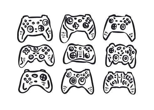 A collection of hand-drawn joysticks. Gamepads for the design of T-shirts, posters, banners and logos.