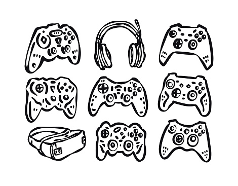 A collection of hand-drawn joysticks, headphones. Gamepads for the design of T-shirts, posters, banners and logos, vector illustrations. Virtual reality headset icon.