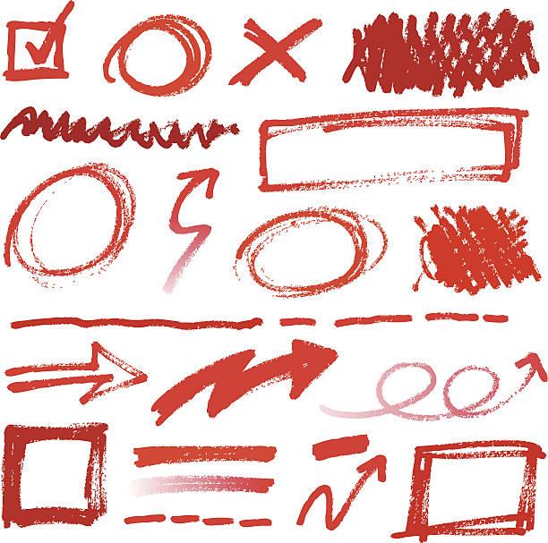 sammlung von handgezeichneten rot bleistift korrekturen - korrekturlesen stock-grafiken, -clipart, -cartoons und -symbole