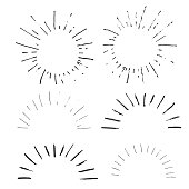 Collection of handdrawn sun bursts. Unique vintage design for your logo or text . Grunge element isolated on white background. Vector.