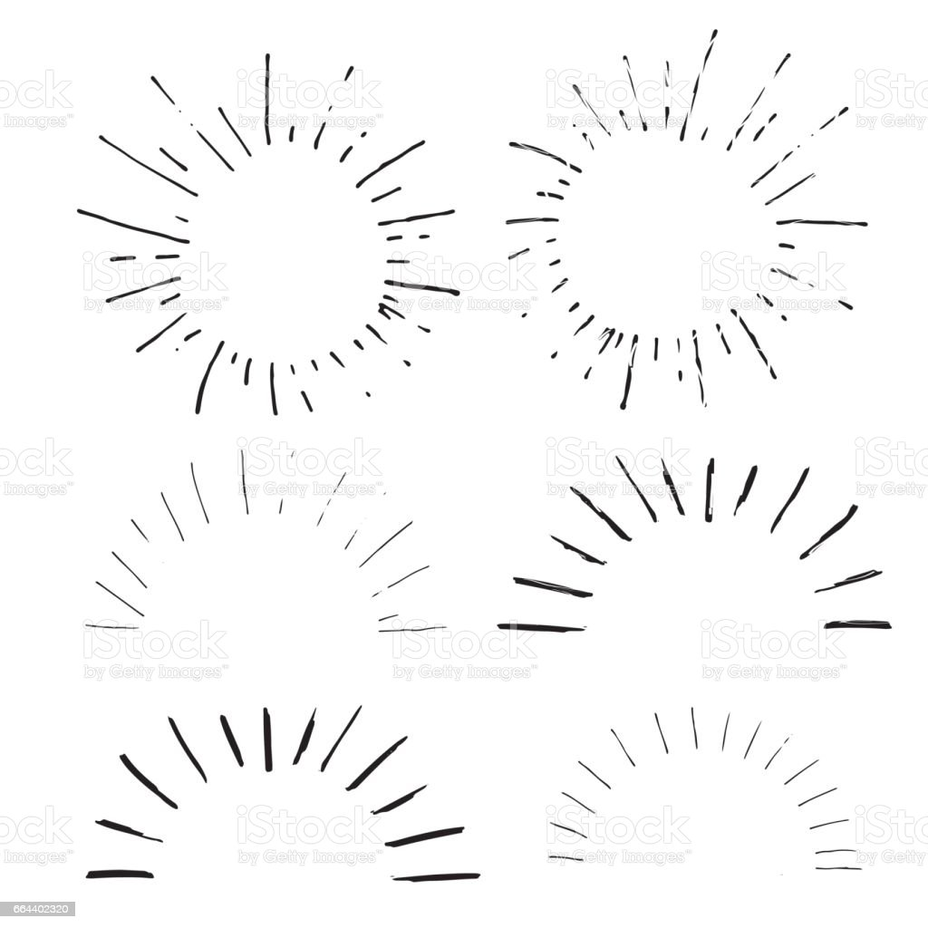 Collection of handdrawn sun bursts. vector art illustration