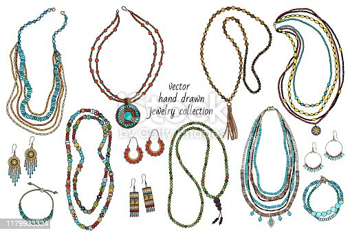 Collection of handmade jewelry: necklace, earrings, bracelets, beads. Hand-drawn. Vector