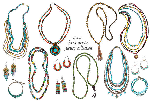 Collection of handmade jewelry Collection of handmade jewelry: necklace, earrings, bracelets, beads. Hand-drawn. Vector bead stock illustrations