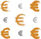 Collection of hand-painted yellow Euro icons isolated on white