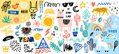 Collection of handwritten slogans or phrases and decorative design elements hand drawn in trendy doodle style - animals, plants, symbols. Colorful vector illustration for T-shirt or sweatshirt print.