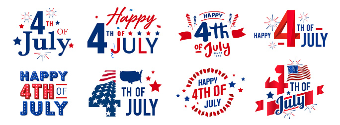 Collection of happy 4th of July independence day monogram designs with artistic decorated elements. Vector design
