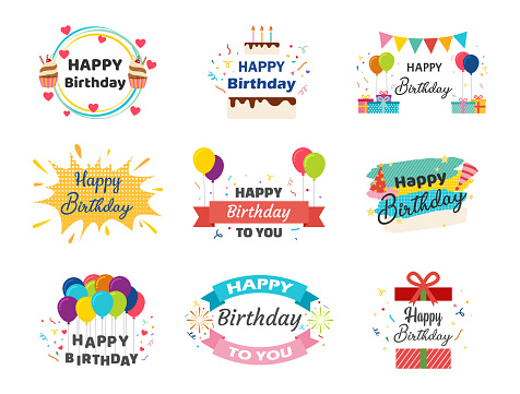 Collection of Happy Birthday banner vector set for celebration - Vector illustration.