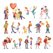 Great set of happy cartoon couples in love.Happy lovers on date,at dinner,hugging,dancing.