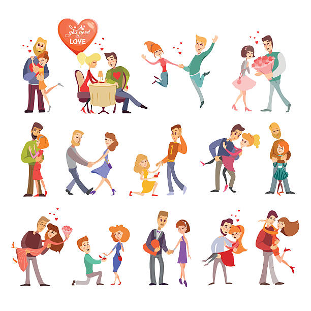 collection of happy couple silhouettes icons - couples stock illustrations, clip art, cartoons, & icons