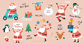 Collection of happy Santa Clauses, dancing, jumping, holding sign, driving on scooter. Vector illustrations