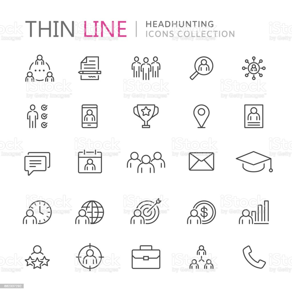 Collection of headhunting thin line icons vector art illustration
