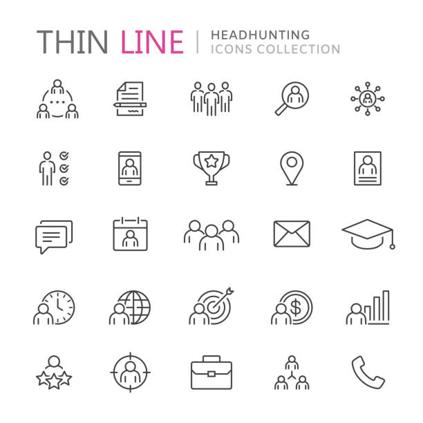 collection of headhunting thin line icons - umiejętność stock illustrations