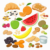 Collection of healthy snacks isolated on white background. Healthy foods Vector illustration in flat design