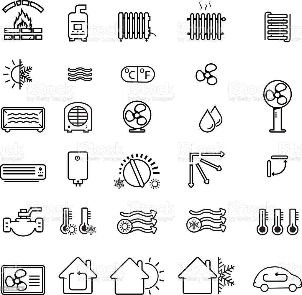 Collection of heating and cooling related icons vector art illustration