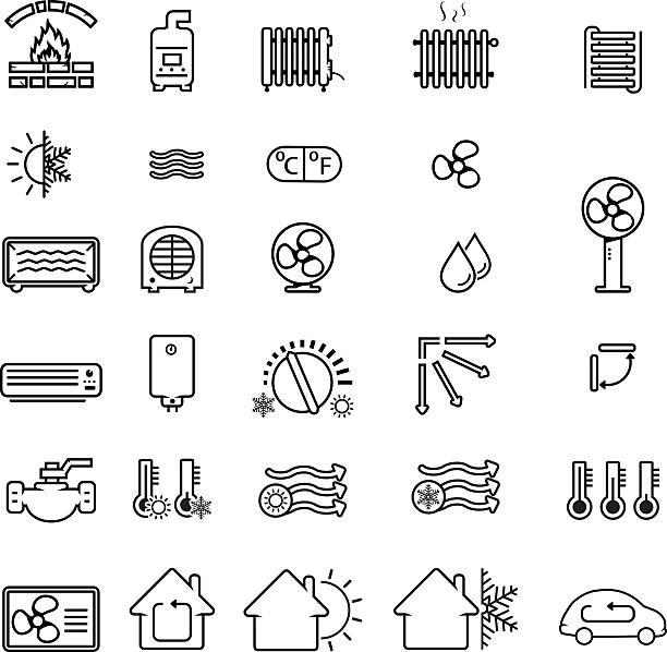 illustrazioni stock, clip art, cartoni animati e icone di tendenza di collection of heating and cooling related icons - car chill