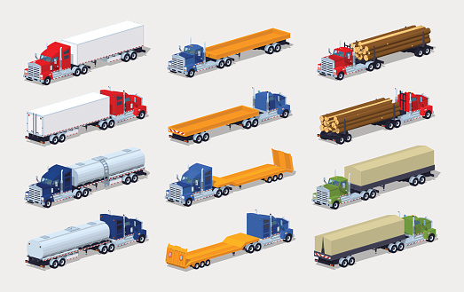 Collection of heavy trucks with semitrailers