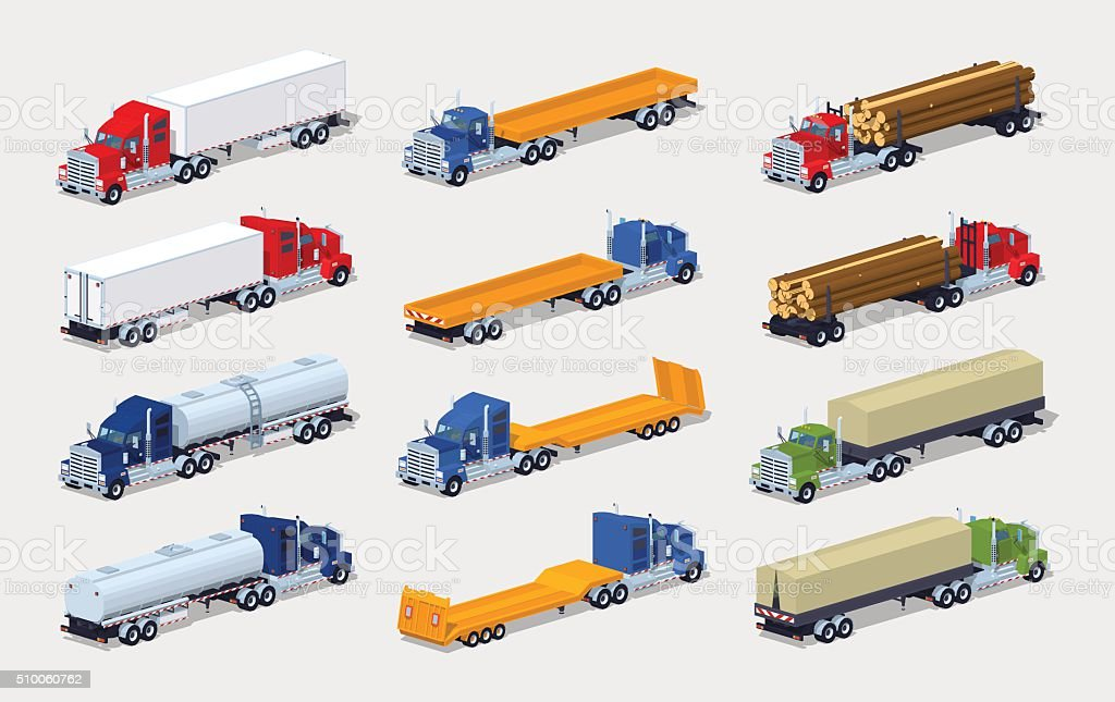 Collection of heavy trucks with semitrailers vector art illustration