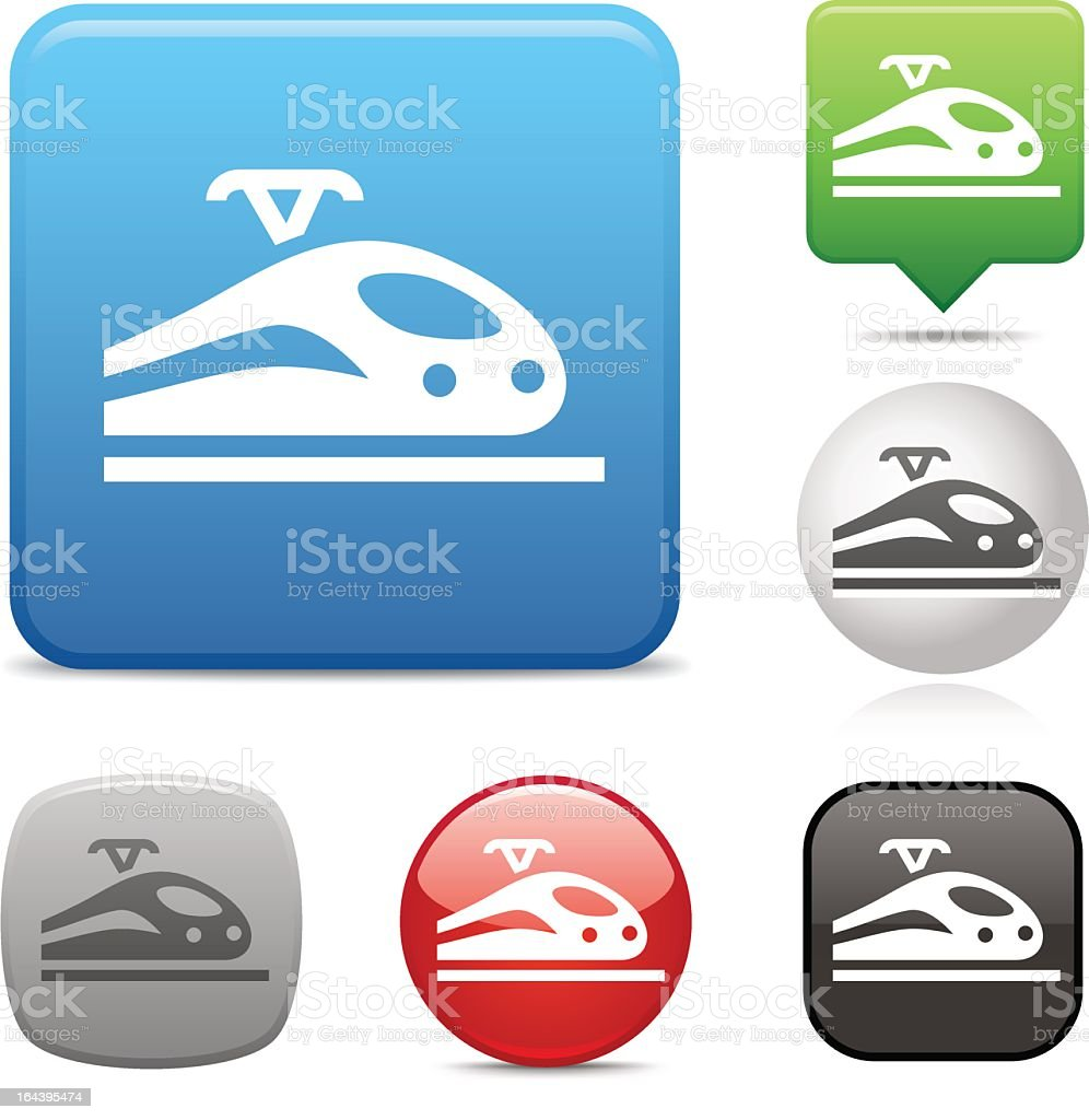 Collection of high speed train icons vector art illustration