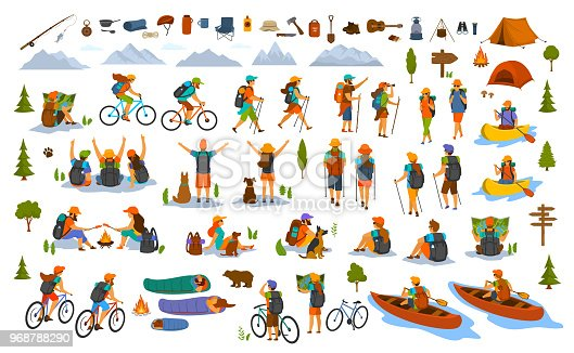istock collection of hiking trekking people. young man woman couple hikers travel outdoors with mountain bikes kayaks camping 968788290
